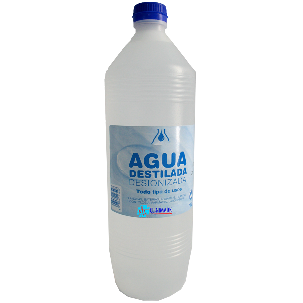 Agua destilada / desionizada en botella de 1 litro