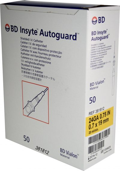 Catéter BD Insyte Autoguard 24G