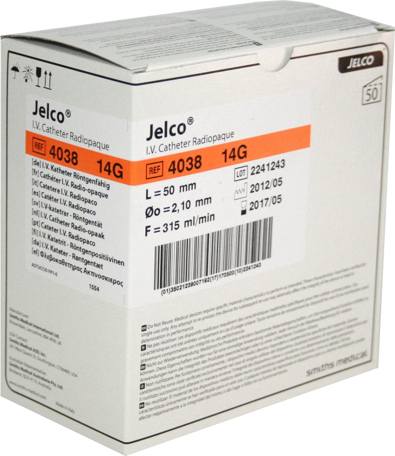 Catéter periférico Jelco de Smiths Medical 14G