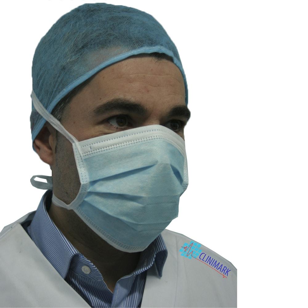Mascarilla cirujano de tejido color azul con cintas